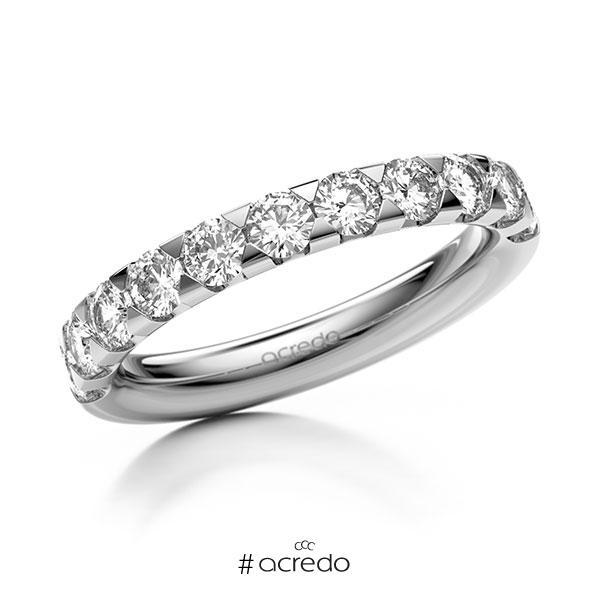 Memoire/Diamantring in Weißgold 585 halbausgefasst mit zus. 1,1 ct. Brillant tw, si von acredo
