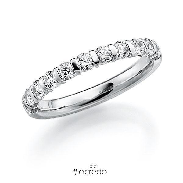 Memoire/Diamantring in Weißgold 585 halbausgefasst mit zus. 1,1 ct. Brillant tw, vs von acredo