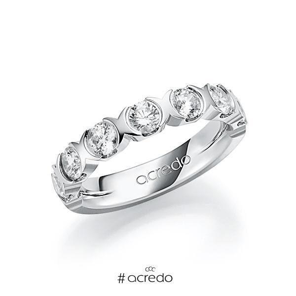 Memoire/Diamantring in Weißgold 585 halbausgefasst mit zus. 1,4 ct. Brillant tw, vs von acredo