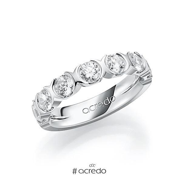 Memoire/Diamantring in Weißgold 585 halbausgefasst mit zus. 1,75 ct. Brillant tw, vs von acredo