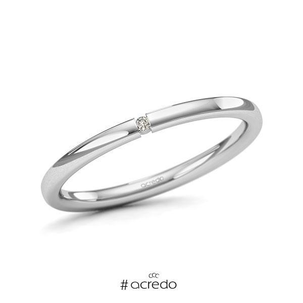 Memoire/Diamantring in Weißgold 585 mit zus. 0,01 ct. Brillant tw, si von acredo