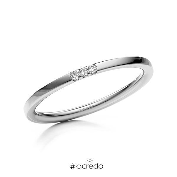 Memoire/Diamantring in Weißgold 585 mit zus. 0,03 ct. Brillant tw, si von acredo