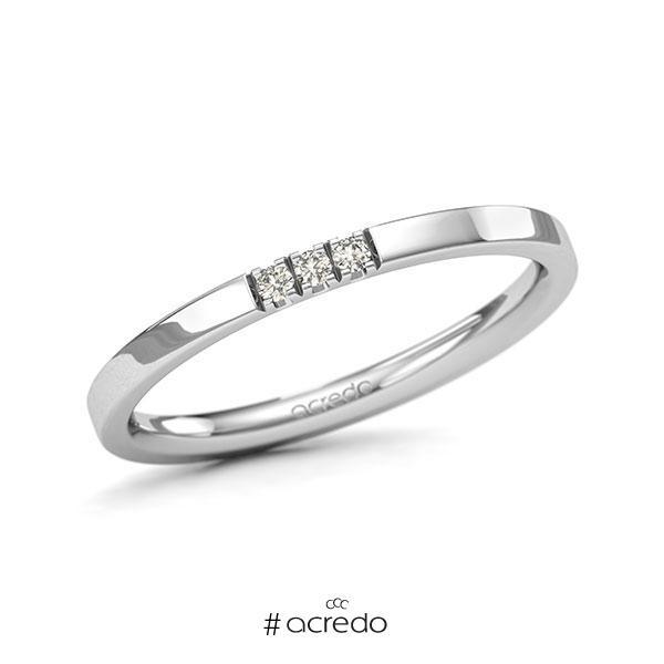 Memoire/Diamantring in Weißgold 585 mit zus. 0,045 ct. Brillant tw, si von acredo