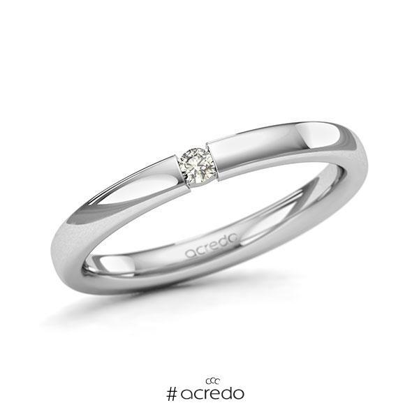 Memoire/Diamantring in Weißgold 585 mit zus. 0,05 ct. Brillant tw, si von acredo