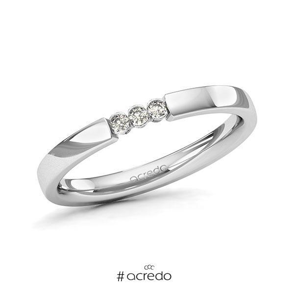 Memoire/Diamantring in Weißgold 585 mit zus. 0,06 ct. Brillant tw, si von acredo