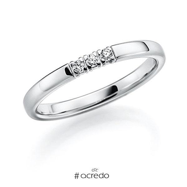 Memoire/Diamantring in Weißgold 585 mit zus. 0,06 ct. Brillant tw, vs von acredo