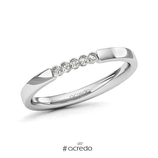 Memoire/Diamantring in Weißgold 585 mit zus. 0,075 ct. Brillant tw, si von acredo