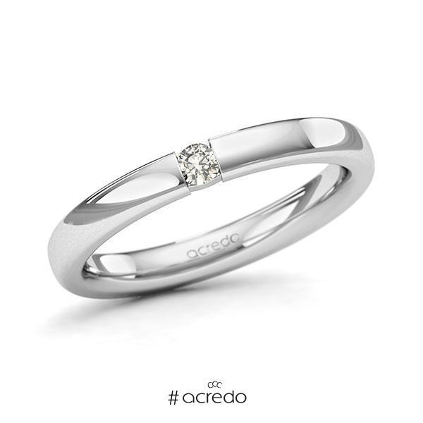 Memoire/Diamantring in Weißgold 585 mit zus. 0,07 ct. Brillant tw, si von acredo