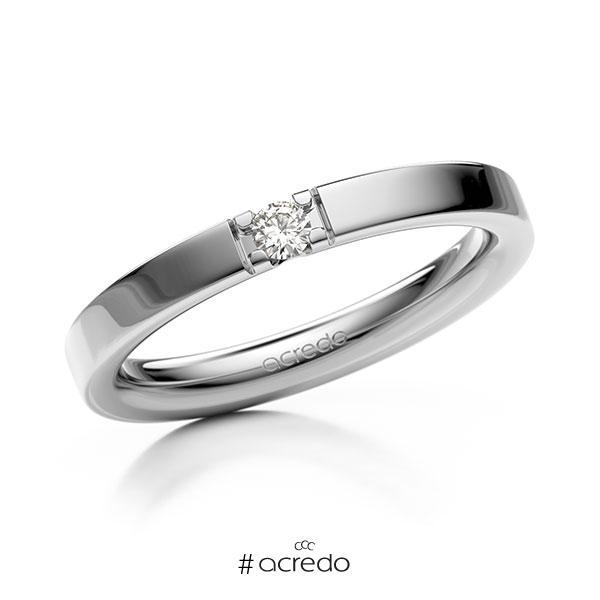 Memoire/Diamantring in Weißgold 585 mit zus. 0,07 ct. Brillant tw, vs von acredo
