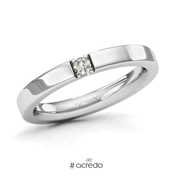 Memoire/Diamantring in Weißgold 585 mit zus. 0,08 ct. Brillant tw, si von acredo