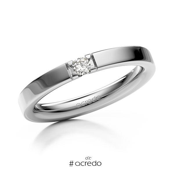 Memoire/Diamantring in Weißgold 585 mit zus. 0,08 ct. Brillant tw, vs von acredo