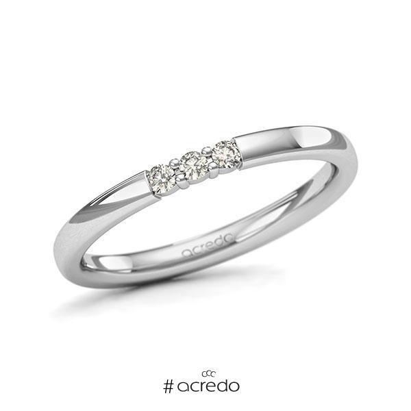 Memoire/Diamantring in Weißgold 585 mit zus. 0,09 ct. Brillant tw, si von acredo