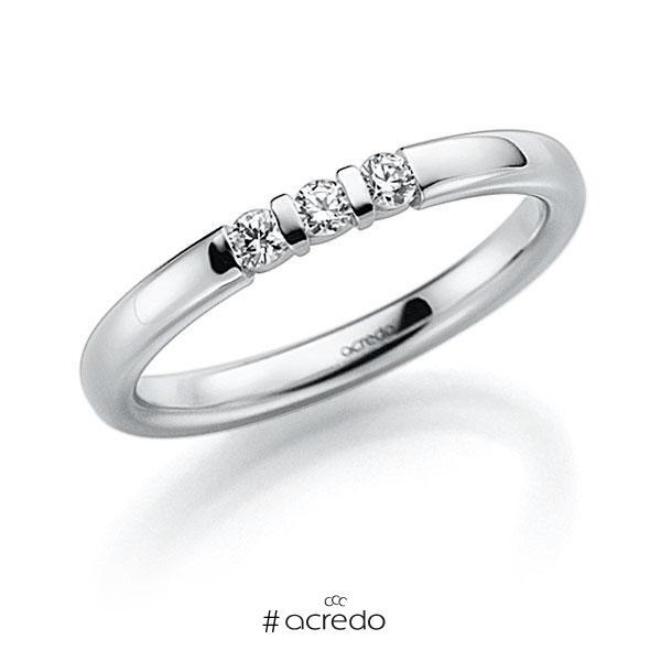 Memoire/Diamantring in Weißgold 585 mit zus. 0,09 ct. Brillant tw, vs von acredo