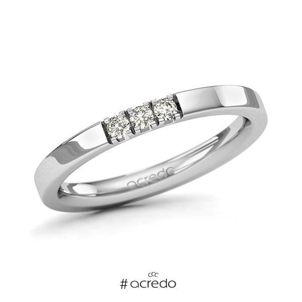 Memoire/Diamantring in Weißgold 585 mit zus. 0,12 ct. Brillant tw, si von acredo