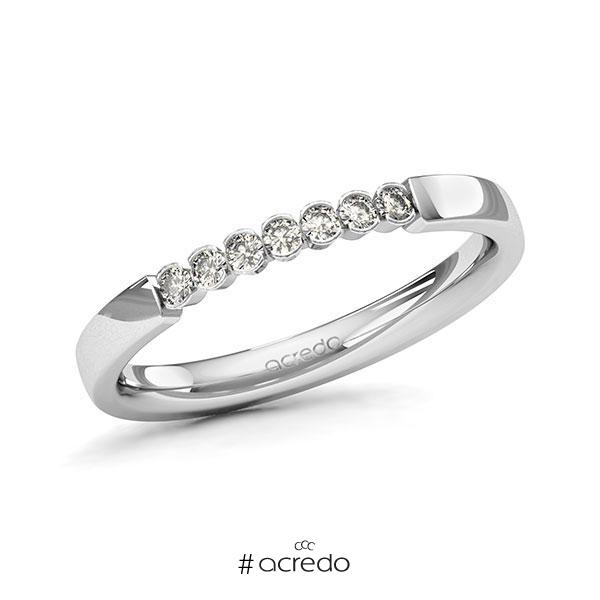 Memoire/Diamantring in Weißgold 585 mit zus. 0,14 ct. Brillant tw, si von acredo