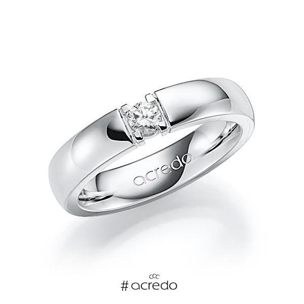 Memoire/Diamantring in Weißgold 585 mit zus. 0,15 ct. Brillant tw, vs von acredo