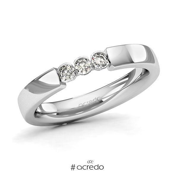 Memoire/Diamantring in Weißgold 585 mit zus. 0,18 ct. Brillant tw, si von acredo