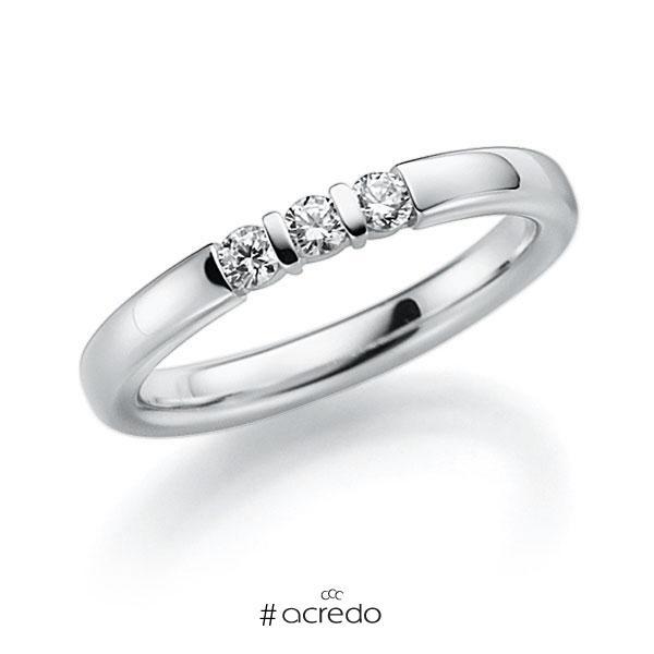 Memoire/Diamantring in Weißgold 585 mit zus. 0,18 ct. Brillant tw, vs von acredo