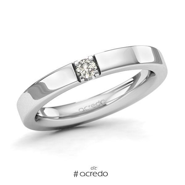Memoire/Diamantring in Weißgold 585 mit zus. 0,1 ct. Brillant tw, si von acredo