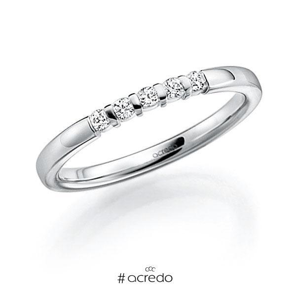 Memoire/Diamantring in Weißgold 585 mit zus. 0,1 ct. Brillant tw, vs von acredo