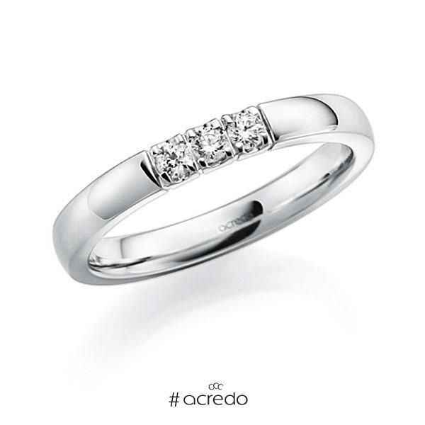 Memoire/Diamantring in Weißgold 585 mit zus. 0,21 ct. Brillant tw, vs von acredo