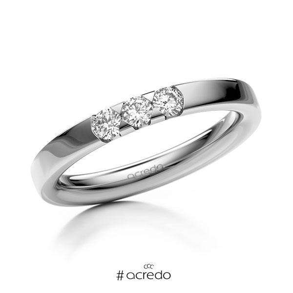 Memoire/Diamantring in Weißgold 585 mit zus. 0,24 ct. Brillant tw, si von acredo