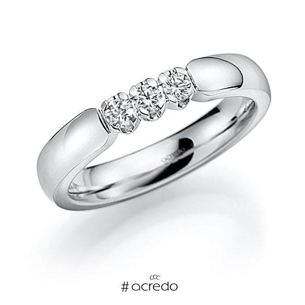 Memoire/Diamantring in Weißgold 585 mit zus. 0,24 ct. Brillant tw, vs von acredo