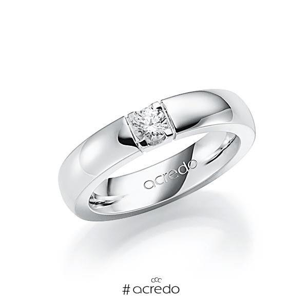 Memoire/Diamantring in Weißgold 585 mit zus. 0,25 ct. Brillant tw, vs von acredo