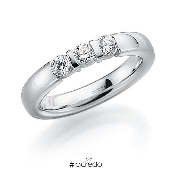 Memoire/Diamantring in Weißgold 585 mit zus. 0,27 ct. Brillant tw, vs von acredo