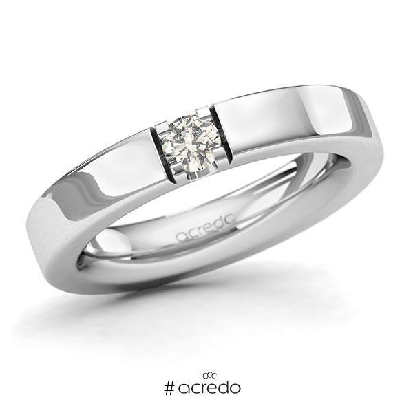 Memoire/Diamantring in Weißgold 585 mit zus. 0,2 ct. Brillant tw, si von acredo