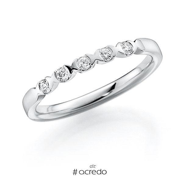 Memoire/Diamantring in Weißgold 585 mit zus. 0,2 ct. Brillant tw, vs von acredo