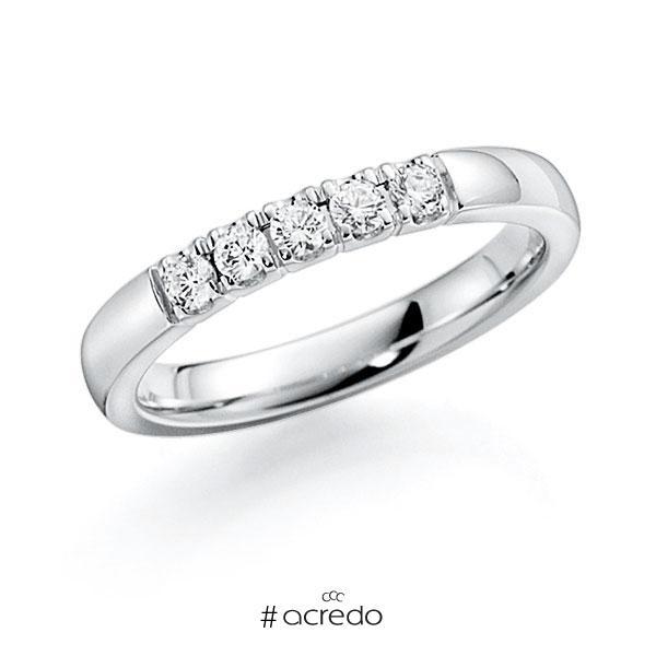 Memoire/Diamantring in Weißgold 585 mit zus. 0,35 ct. Brillant tw, vs von acredo
