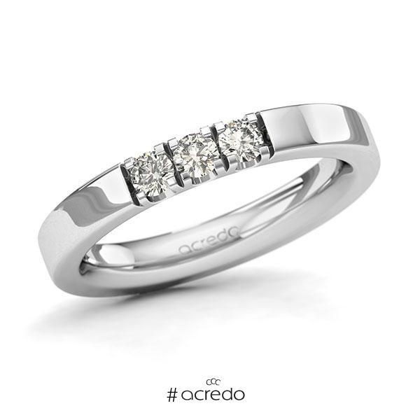 Memoire/Diamantring in Weißgold 585 mit zus. 0,3 ct. Brillant tw, si von acredo