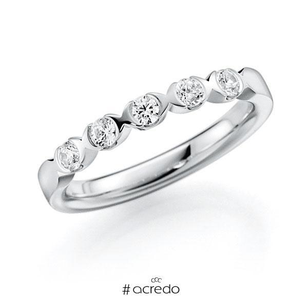Memoire/Diamantring in Weißgold 585 mit zus. 0,3 ct. Brillant tw, vs von acredo