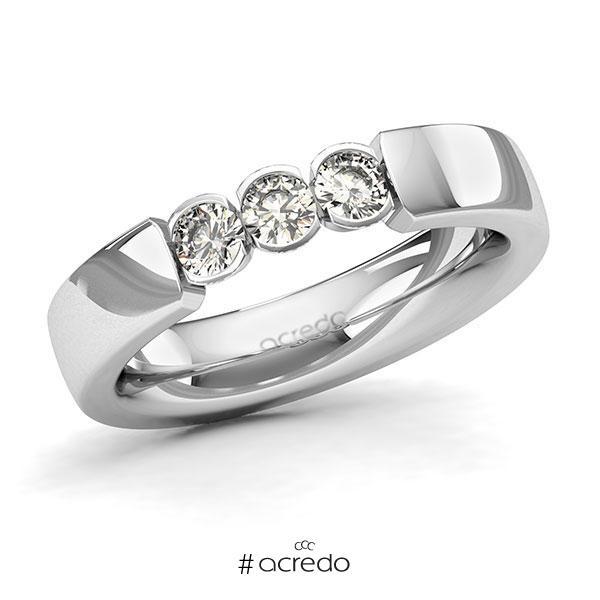 Memoire/Diamantring in Weißgold 585 mit zus. 0,45 ct. Brillant tw, si von acredo