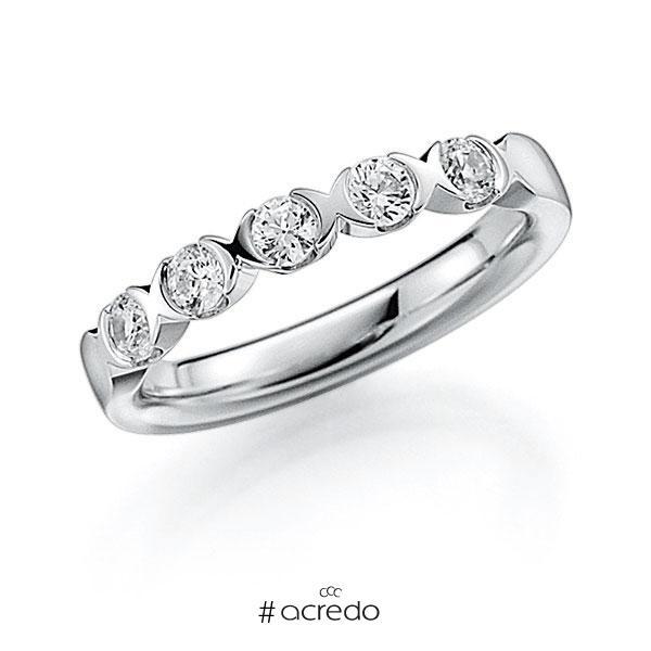 Memoire/Diamantring in Weißgold 585 mit zus. 0,45 ct. Brillant tw, vs von acredo