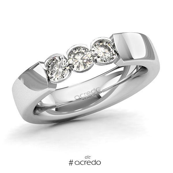 Memoire/Diamantring in Weißgold 585 mit zus. 0,6 ct. Brillant tw, si von acredo