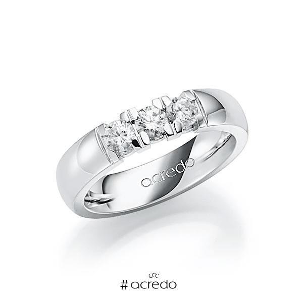 Memoire/Diamantring in Weißgold 585 mit zus. 0,6 ct. Brillant tw, vs von acredo