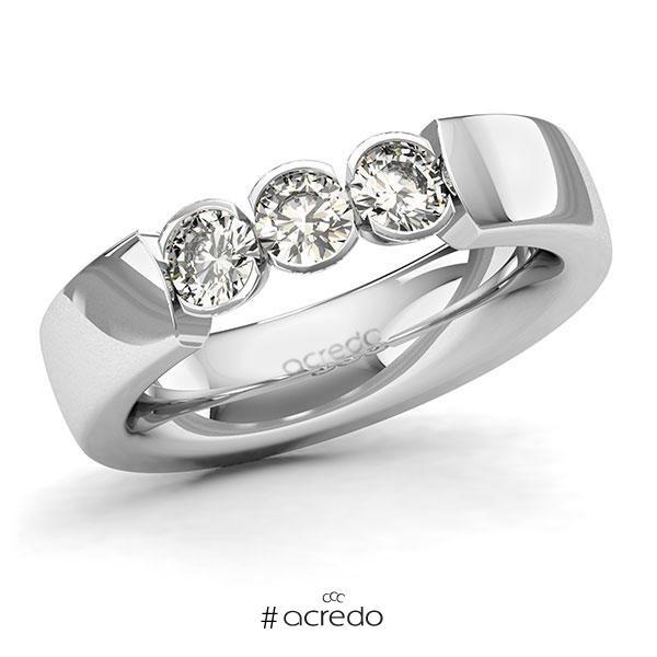 Memoire/Diamantring in Weißgold 585 mit zus. 0,75 ct. Brillant tw, si von acredo