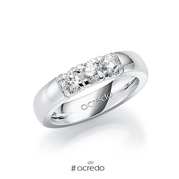 Memoire/Diamantring in Weißgold 585 mit zus. 0,75 ct. Brillant tw, vs von acredo