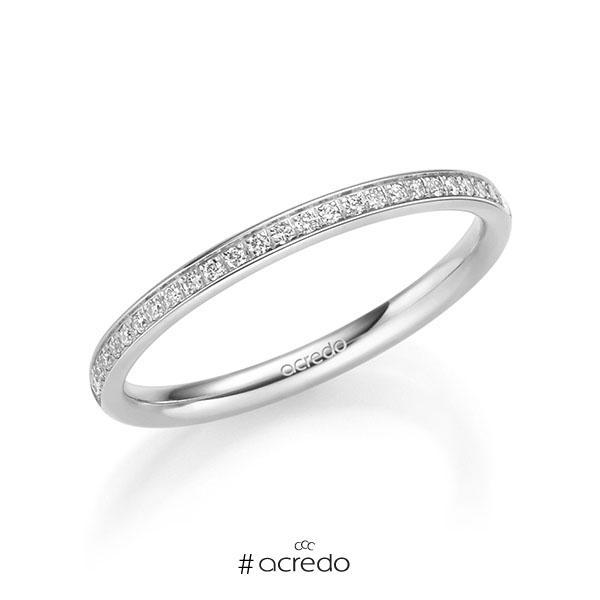 Memoire/Diamantring in Weißgold 585 vollausgefasst mit zus. 0,295 ct. Brillant tw, si von acredo