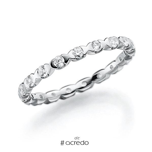 Memoire/Diamantring in Weißgold 585 vollausgefasst mit zus. 0,4 ct. Brillant tw, vs von acredo
