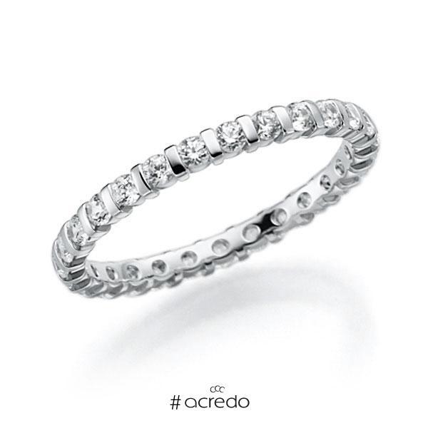 Memoire/Diamantring in Weißgold 585 vollausgefasst mit zus. 0,58 ct. Brillant tw, vs von acredo