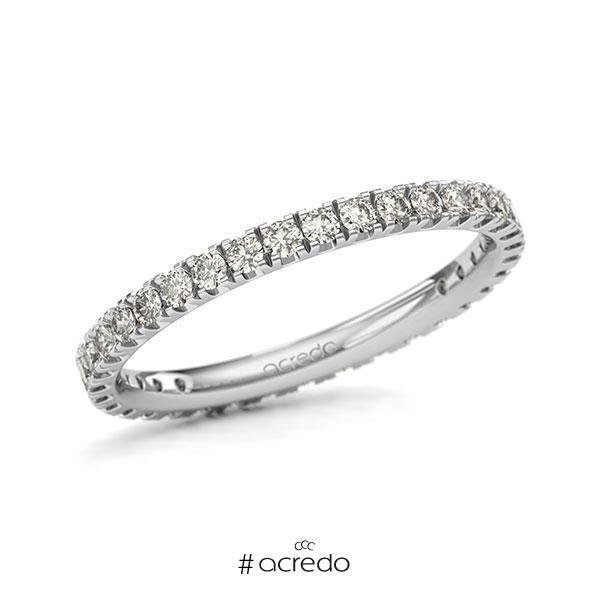 Memoire/Diamantring in Weißgold 585 vollausgefasst mit zus. 0,7 ct. Brillant tw, si von acredo