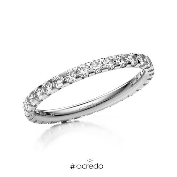 Memoire/Diamantring in Weißgold 585 vollausgefasst mit zus. 0,9 ct. Brillant tw, si von acredo