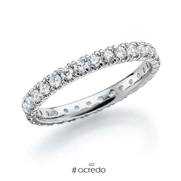 Memoire/Diamantring in Weißgold 585 vollausgefasst mit zus. 0,9 ct. Brillant tw, vs von acredo