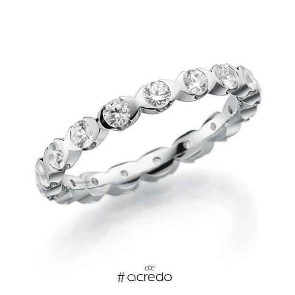 Memoire/Diamantring in Weißgold 585 vollausgefasst mit zus. 1,12 ct. Brillant tw, vs von acredo