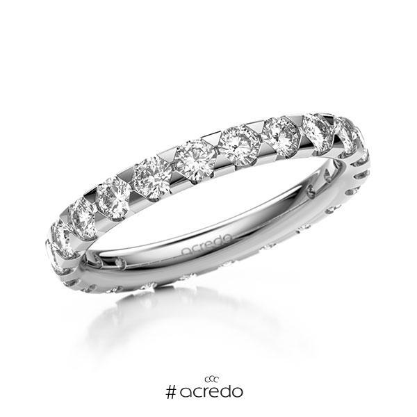 Memoire/Diamantring in Weißgold 585 vollausgefasst mit zus. 1,54 ct. Brillant tw, si von acredo