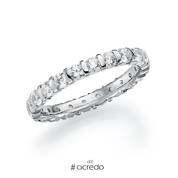 Memoire/Diamantring in Weißgold 585 vollausgefasst mit zus. 1,54 ct. Brillant tw, vs von acredo
