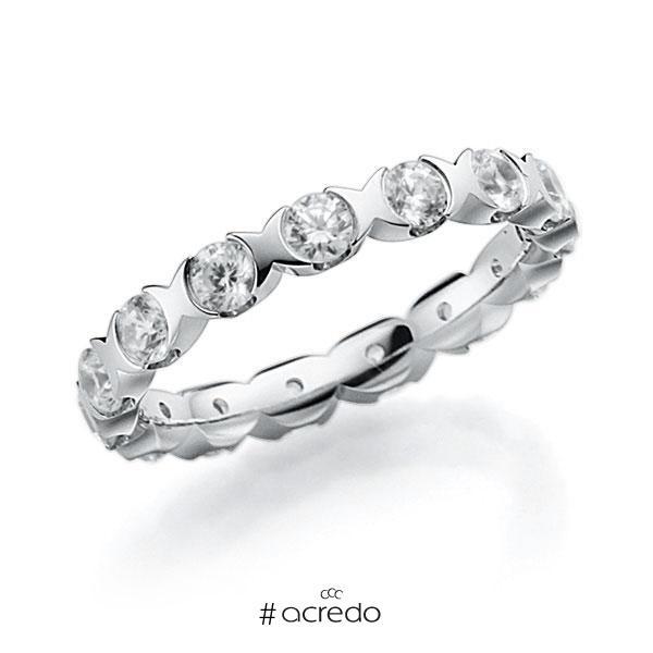 Memoire/Diamantring in Weißgold 585 vollausgefasst mit zus. 1,5 ct. Brillant tw, vs von acredo